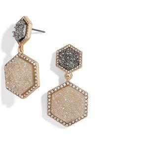 Bauble Bar Ashaya Hexagon Drusy Drop Earrings